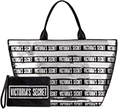 Victoria's Secret Black Friday Tote Large Black and Silver Sequins with a Small Zippered Bag