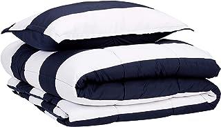 AmazonBasics Comforter Set, Twin / Twin XL, Navy Rugby Stripes, Microfiber, Ultra-Soft