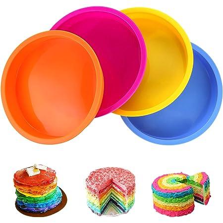 Aitsite 4Pcs Moule Gâteau Rond en Silicone 6 Pouces, Moule Rainbow Cake, Parfait pour Faire de délicieux gâteaux en Couches pour Les fêtes d'anniversaire de Mariage Rapidement et Facilement