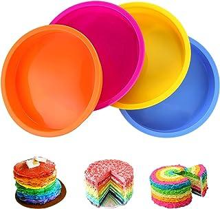 Aitsite 4Pcs Moule Gâteau Rond en Silicone 6 Pouces, Moule Rainbow Cake, Parfait pour Faire de délicieux gâteaux en Couche...