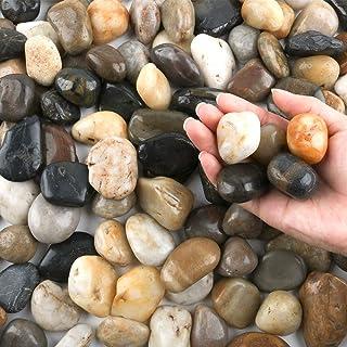 صخور نهر بحصى وحصى ، 2.54 - 5.08 سم أحجار مزخرفة خارجية للحدائق، أحجار ملونة طبيعية مصقولة