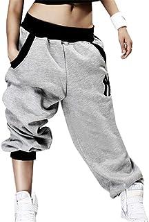 UR MAX BEAUTY Donna Harem Cerniera Arancione Plaid Harem Pants Pantaloni A Vita Alta Hip Hop Strada con Tasca,S