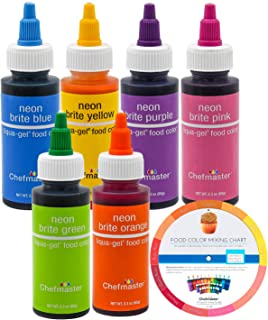 Chefmaster by US Cake Supply Liqua-Gel 2.3-Ounce Neon Cake Decorating 6-Color Kit