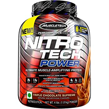 Muscletech Performance Series Nitrotech Power (Post-Workout, 60g Protein, 14.8g BCAAs, 8g Leucine, 6g Creatine 2.5 Betaine) - 4 lbs (1.81 kg) (Triple Chocolate Supreme)