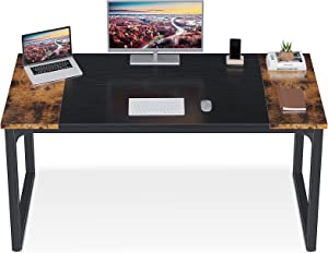"""ODK Computer Desk 55"""" with Splice Board, Home Office Desks with Two-Tone Design, Modern Simple Writing Desk for Work/Study from Home, Rustic Brown & Black"""