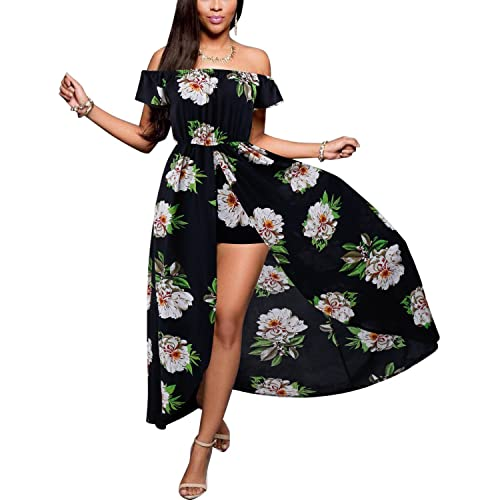 d0dcfd1840c BIUBIU Women s Off Shoulder Floral Rayon Party Split Maxi Romper Dress