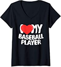 Womens I Love My Baseball Player V-Neck T-Shirt