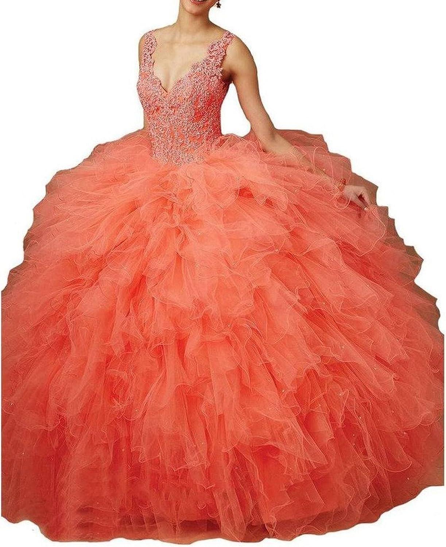 Dearta Women's Ball Gown VNeck Sleeveless FloorLength Quinceanera Dresses