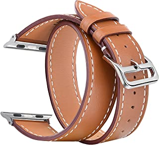 V-Moro Compatible Watch Band 38mm Genuine Leather Smart Watch Band Replacement for Watch Series 3 Series 2 Series 1 Sport&Edition (Double Tour Brown 38mm)