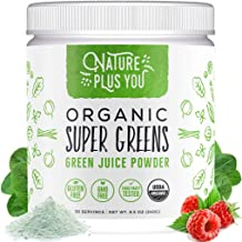 Super Greens - 100% USDA Certified Organic Non-GMO Supplement, Includes Spirulina, Alfalfa, Spinach, Probiotics, Fiber and Digestive Enzymes, No Artificial Sweeteners, 30 Servings by Nature Plus You