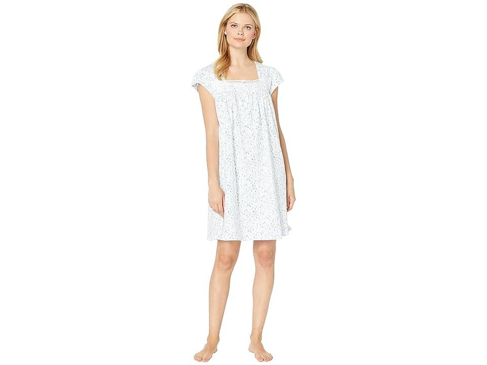 Eileen West Cotton Jersey Short Nightgown (White Ground Floral Multi) Women
