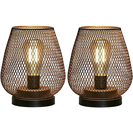 JHY DESIGN Set of 2 Metal Cage Table lamp Battery Powered, Cordless Accent Light with LED Edison Style Bulb for Bedroom Home Weddings Parties Patio Indoors Outdoors Valentine's Day(Egg Shape)