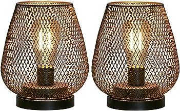 Set van 2 metalen kooilamplampen op batterijen, snoerloos accentlicht met LED Edison-stijl lamp. Geweldig voor bruiloften,...