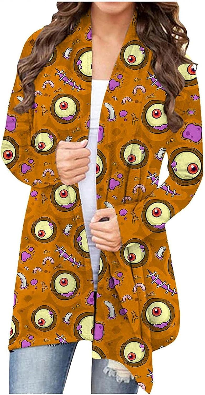 Masbird Halloween Cardigan for Women, Womens Cute Long Sleeve Open Front Tops Pumpkin Ghost Graphic Lightweight Coat
