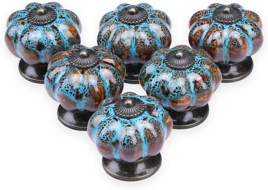 Ceramic Knobs Cabinet Furniture Replacement Pull Earth Tones with Gold Hardware Dresser Drawer Knobs, Pumpkin Shape Knobs Ceramic Knob