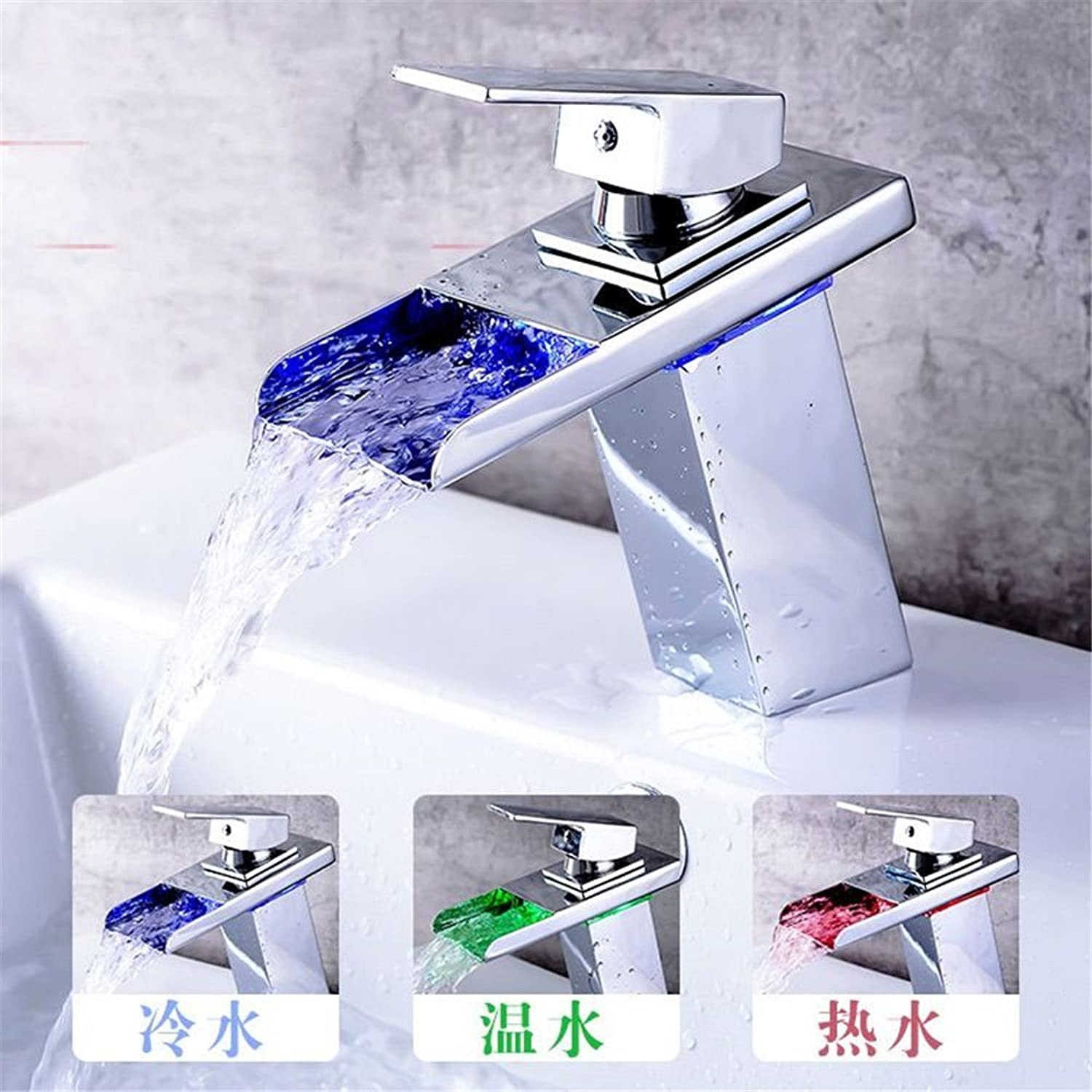YI KUI Sink Taps Led Full Copper Faucet Single Hole and Cold Water Washing Basin Faucet Waterfall Water Chrome Plated Basin Sink Mixer Faucets