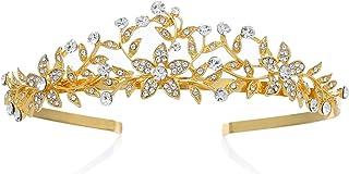 SWEETV Frizzante Strass Tiara Oro Cristallo Corona Matrimonio Cerimonia Principessa Capelli Accessori