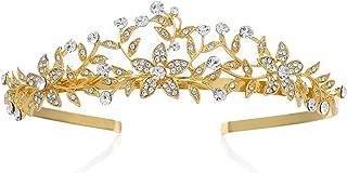 SWEETV Wedding Crown Bridal Tiara Headband Crystal Princess Headpieces Wedding Party Prom Hair Accessories for Women, Gold