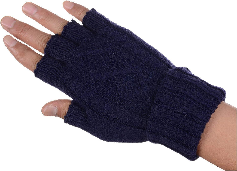 Women's Winter Cozy Fleece Fingerless Knit Gloves