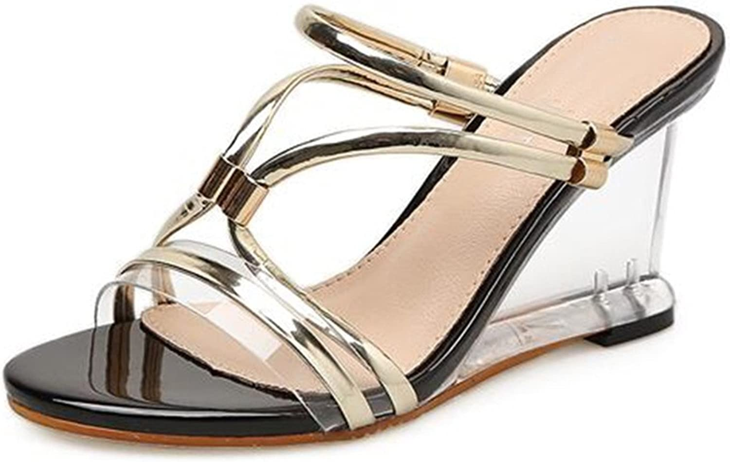 Gladiator Sandals Women Clear Heels Wedge Sandals Sexy Crystal Transparent Heel shoes Vogue Summer Ladies shoes 8.5cm