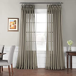 HPD Half Price Drapes SHCH-VOL6-120-DLDW Extra Wide Sheer Curtain (1 Panel), 100 X 120, Museum Grey