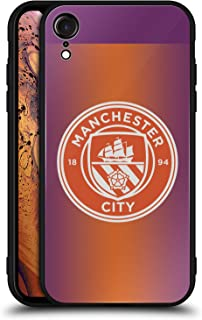 Official Manchester City Man City FC Third Badge Kit 2016/17 Black Hybrid Glass Back Case Compatible for iPhone XR