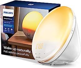 Philips SmartSleep Wake-up Light, Colored Sunrise and Sunset Simulation, 5 Natural Sounds, FM Radio & Reading Lamp, Tap Sn...