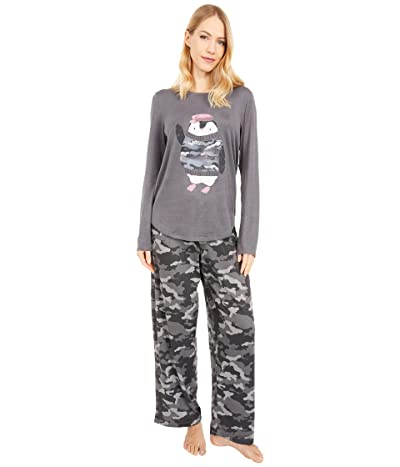HUE Pen Camo Cozy Knit PJ Set (Iron Gate) Women