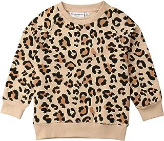 Sudadera de Niño Sudadera de Algodón de Leopardo Manga Larga sin Capucha para Niños (1-7 Años)