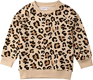 Infant Toddler Baby Boys Girls Leopard Print Sweater Long Sleeve Cheetah Shirt Pullover Top Fall Winter Clothes