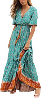 Womens Summer Cotton Short Sleeve V Neck Floral Print Casual Bohemian Midi Dresses