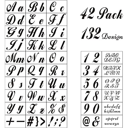 Amazon Com Letter Stencils For Painting On Wood 42 Pack Alphabet Stencil Templates With Numbers And Signs Large Reusable Plastic Stencils In 2 Fonts And 132 Designs For Wood Burning Wall Art