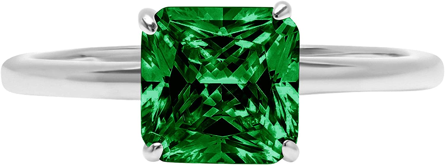 0.9ct Brilliant Asscher Cut Solitaire Flawless Simulated Cubic Zirconia Green Emerald Ideal VVS1 4-Prong Engagement Wedding Bridal Promise Anniversary Designer Ring Solid 14k White Gold for Women