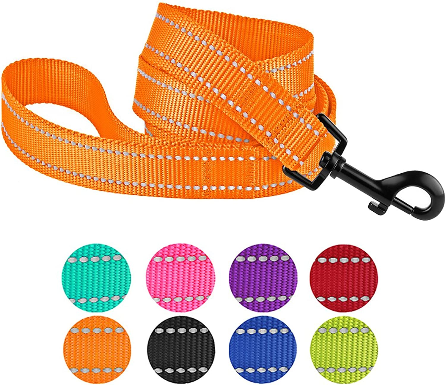 CollarDirect Nylon Dog Leash 5ft for Daily Outdoor Walking Running Training Heavy Duty Reflective Pet Leashes for Large, Medium & Small Dogs (M, orange)