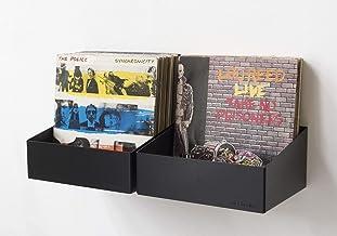 Teebooks Rangement pour Vinyle - Lot de 2 étagères - Acier - Noir - 15 x 25 x 32 cm