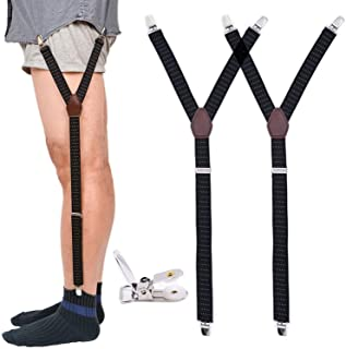Mens Shirt Stays Military Adjustable Elastic Garter Straps Sock Non-slip Clamps