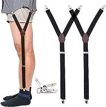 Mens Shirt Stays Military Adjustable Elastic Garter Straps Sock Non-slip Clamps (Black/1 Pair)