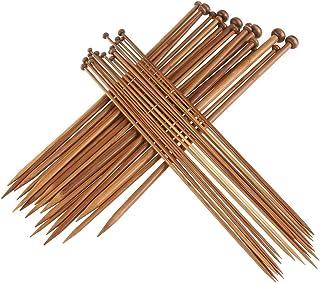 ZKSM Knitting Needles, 36Pcs Single Pointed Bamboo Knitting