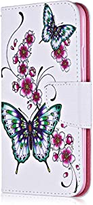 Sony Xperia XZ2 Case  Bear Village  Painted Pattern Premium Leather Magnetic Wallet Case Cover with Credit Card Slot for Sony Xperia XZ2   1 Butterfly