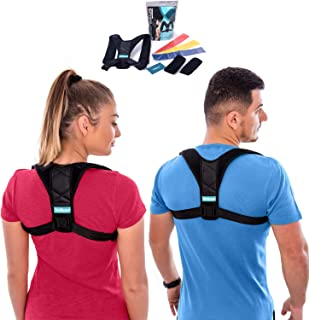 Wellmarr Posture Corrector for Men and Women - Adjustable Upper Back Brace to Improve Bad Posture Providing Pain Relief from Neck, Back and Shoulders-FDA Approved- Free Resistance Bands Set(Large)