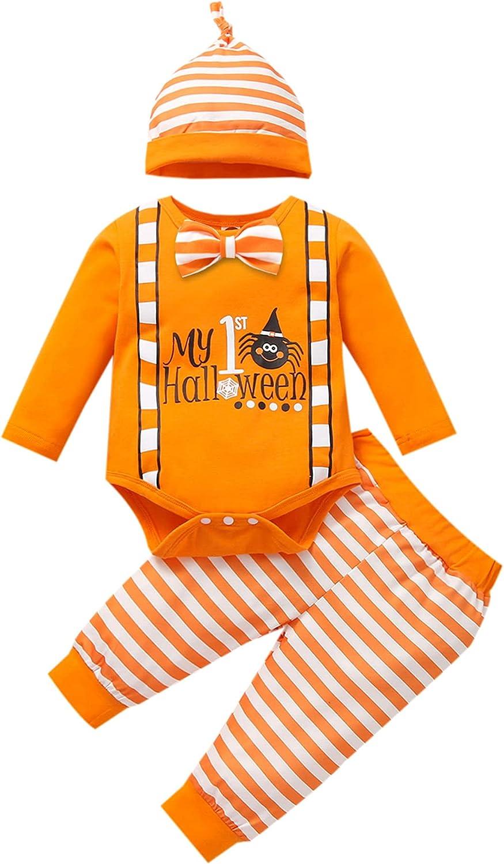 Halloween 3Pcs Newborn Baby Boy Halloween Outfit Long Sleeve Letter Pumpkin Print Romper Top Striped Pants Hat Clothes Set