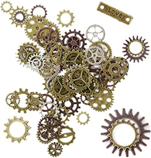 Heatoe 200g (About 150pcs) Assorted Reaationary Gear Alloy Mechanical Gear Mixed Punk DIY Jewelry Accessories Bracelet Accessories Pendant,Different Sizes of Red Copper, Bronze and Silver Gears A