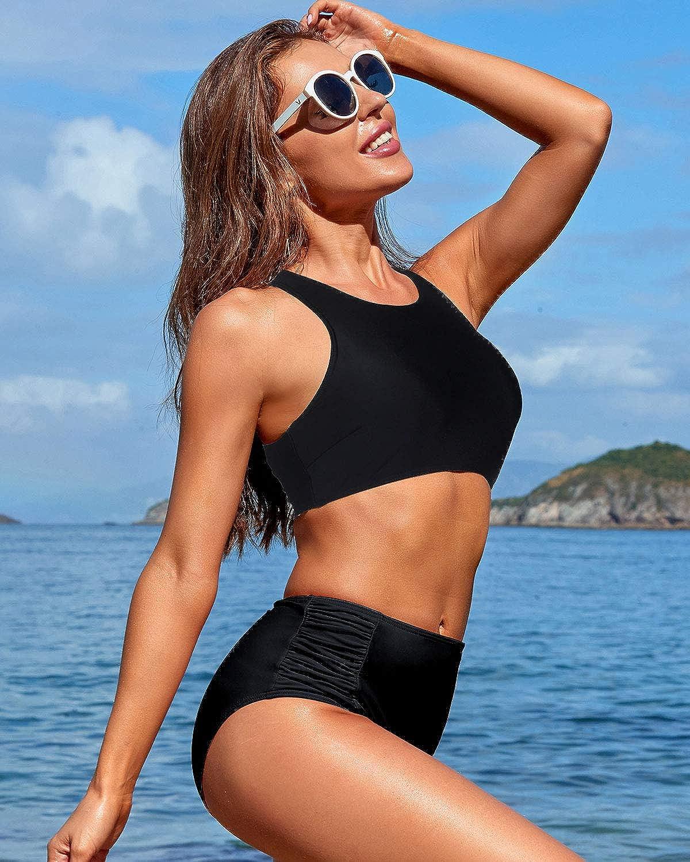 Holipick Sporty High Waisted Bikini Swimsuits for Women 2 Piece Racerback Bikini Bathing Suits for Teens Girls
