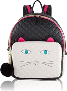 Betsey Johnson Quilted Cat Face Large Backpack - Black/White