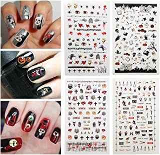 Fanme Halloween Nail Stickers 3D Nail Art Tattoo Decals DIY Nail Art Decoration Self-adhesive Tip Stickers 4Sheets (Halloween new)