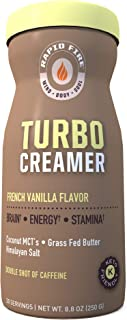 Rapid fire Turbo Creamer, French Vanilla Flavor with Shot of Caffeine, Coconut MCTs, Grass Fed Butter, Himalayan Pink Salt, 8.5 oz., 20 Servings