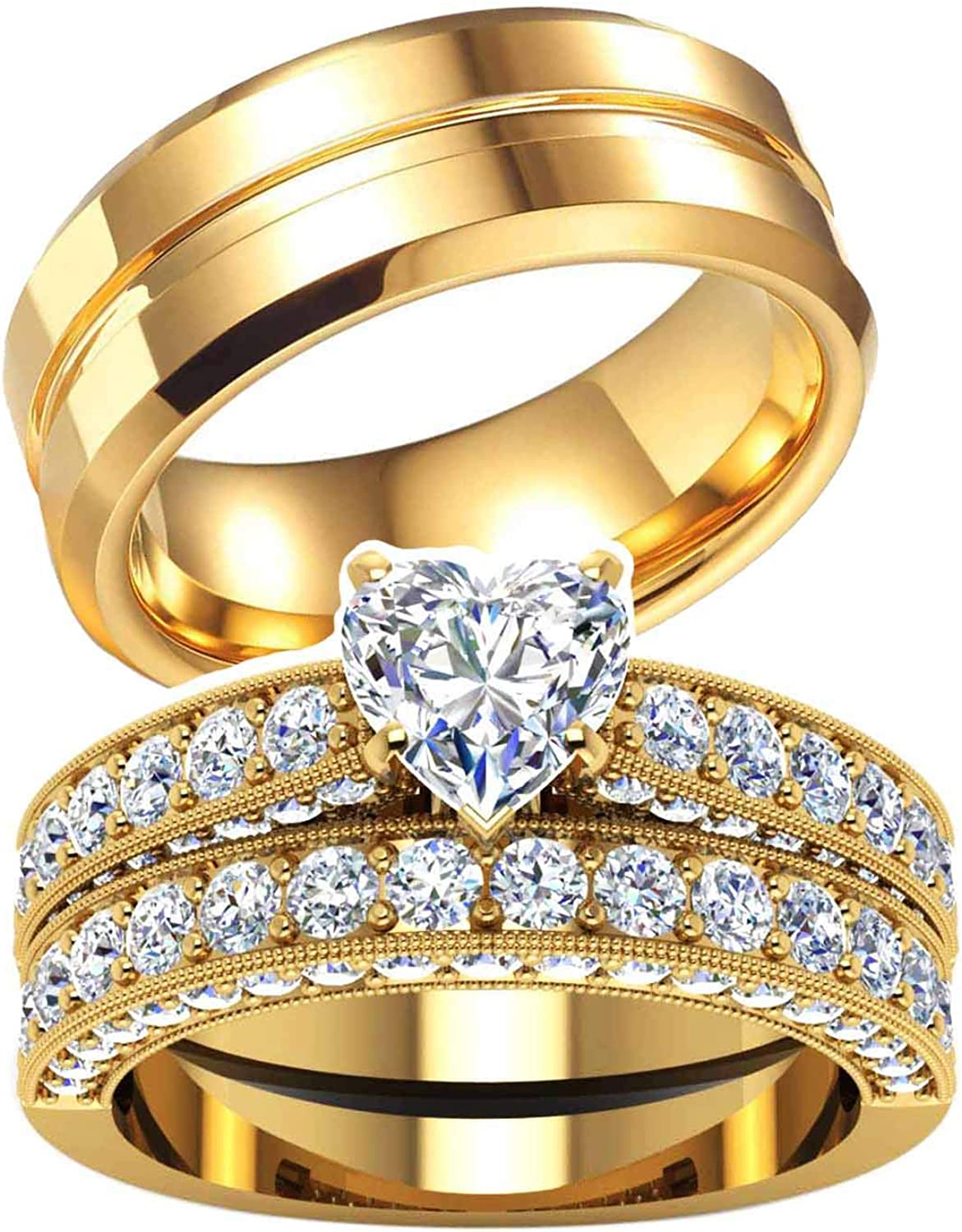Two Rings His Hers Wedding Ring 10k Sets Mail order cheap Women's New product! New type Y Couples