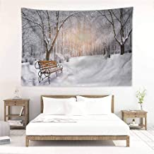 Living Room Tapestry,Winter City Park Sunset Forest,Large Tapestry,W60x51L