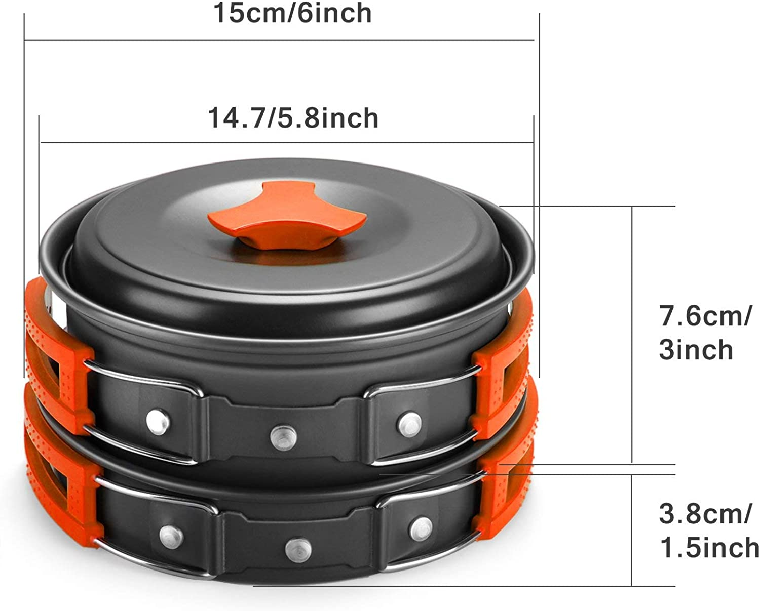 Non-Stick Lightweight Pots Pan Set Backpack Cooking kit. Camping Cookware Mess Kit with Folding Camping Stove