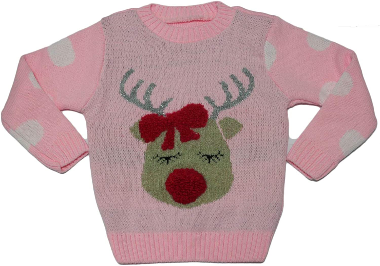 Baby Reindeer Girls Sweater Miss Trendy Novelty Kids Childrens Christmas Knitted Jumper